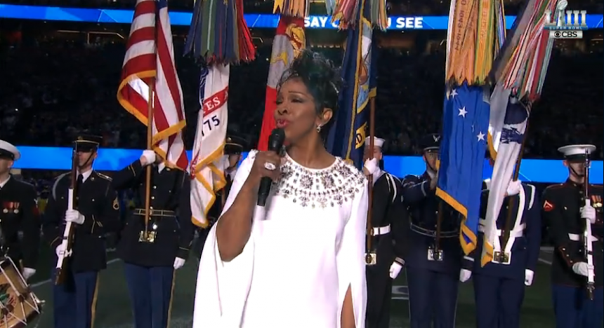 Watch Gladys Knight sing the national anthem at the Super Bowl