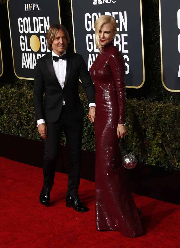 Nicole Kidman and Keith Urban Golden Globes Red Carpet Fashion 2019
