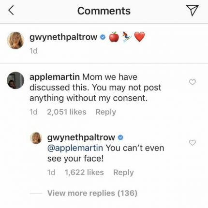 Gwyneth Paltrow defends her Instagram post to Apple Martin in the comments