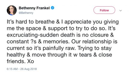 Bethenny Frankel shares raw emotions following the death of Dennis Shields