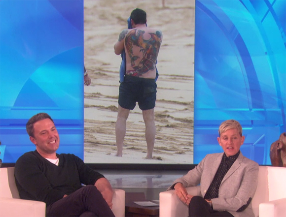 Ellen Pokes Fun at Ben Affleck Back Tattoo