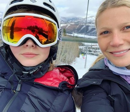 Gwyneth Paltrow and Apple Martin pose for selfie on ski lift