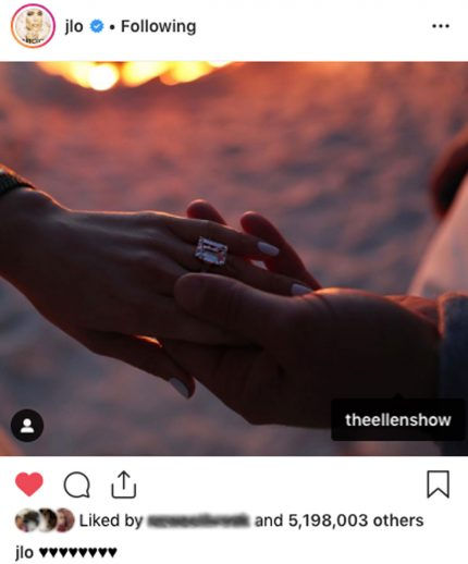 Jennifer Lopez tagged Ellen DeGeneres show on her engagement pic