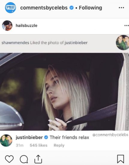 Justin Bieber comments on fan account catching Shawn Mendes liking his pic
