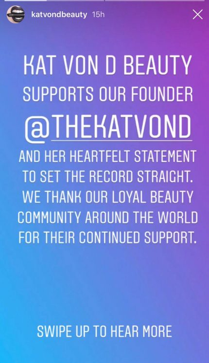 Kat Von D Beauty sends support to Kat Von D