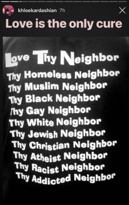 Khloe's post about loving thy neighbor sparks outrage on social media.