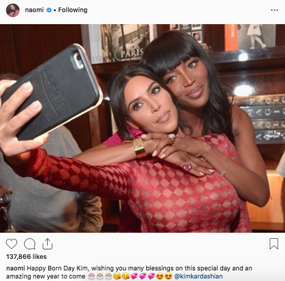 Naomi Campbell and Kim are friends