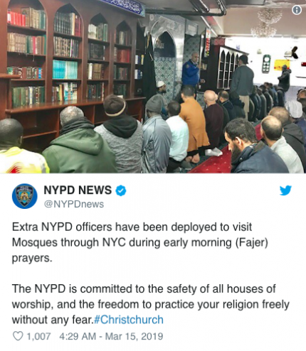NYPD ups security after mosque shooting