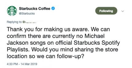 Starbucks is not playing Michael Jackson music following Leaving Neverland doc