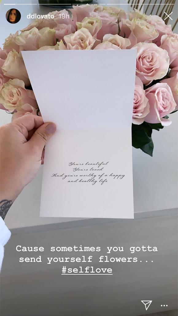 Demi Lovato sent herself flowers!