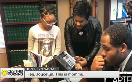 Joycelyn Savage's mother and sister speak to her on the phone.