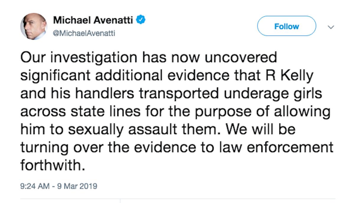 Michael Avenatti R. Kelly Tweet