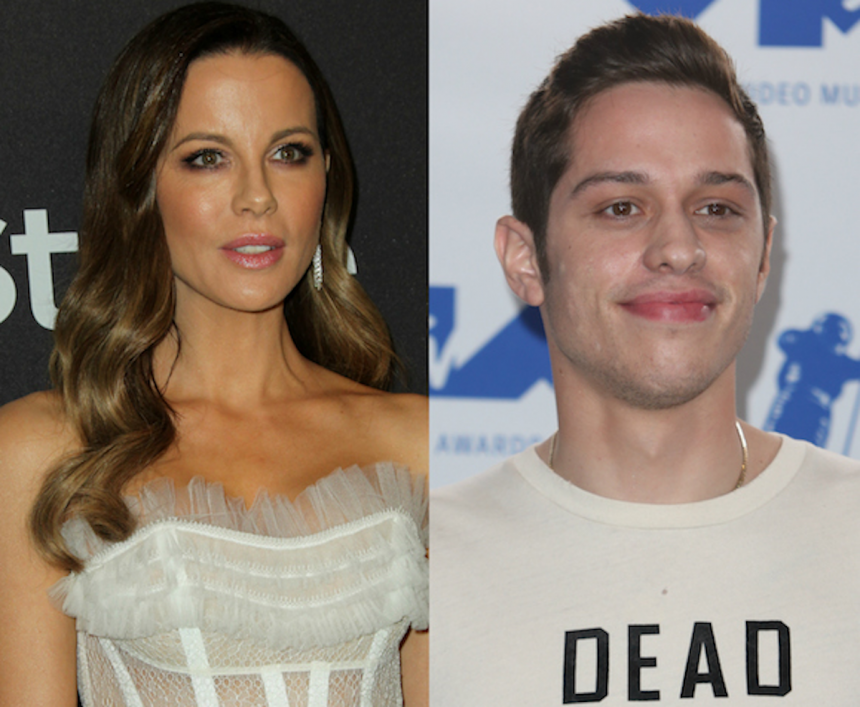 Kate Beckinsale and Pete Davidson share kiss at NY  hockey game
