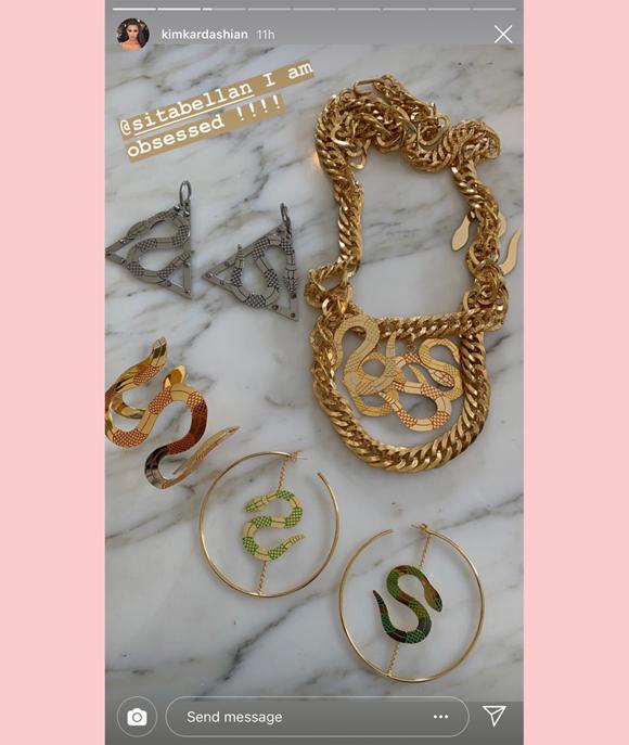 Kim Kardashian shares snake jewelry on instagram