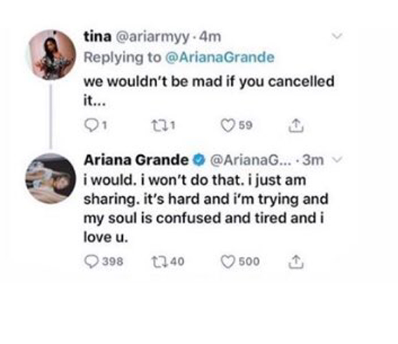 Ariana Grande considering changing tour setlist due to emotional songs