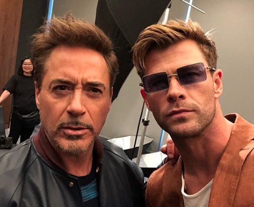 Chris Hemsworth with Robert Downey Jr.!