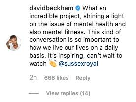 david beckham praises meghan and harry