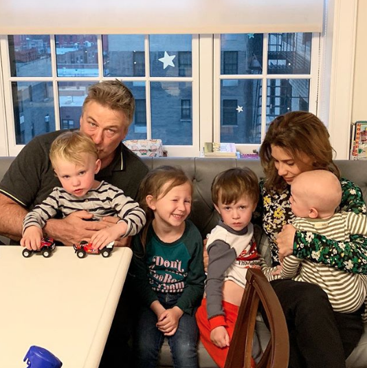 alec and hilaria baldwin with their children