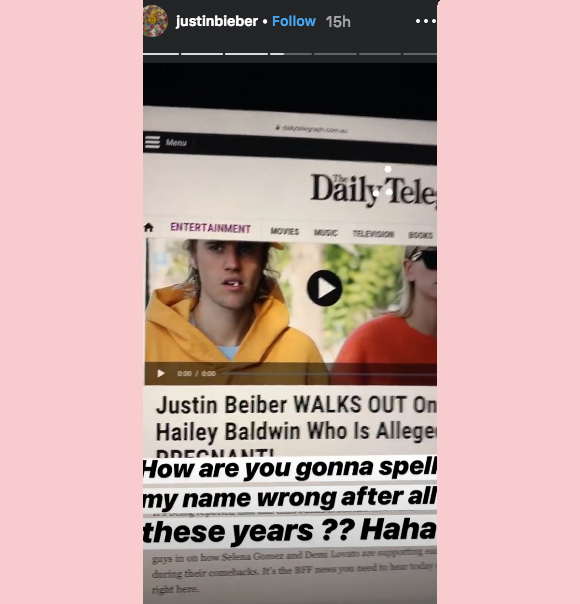 Justin Bieber hits back at Daily Telehraph