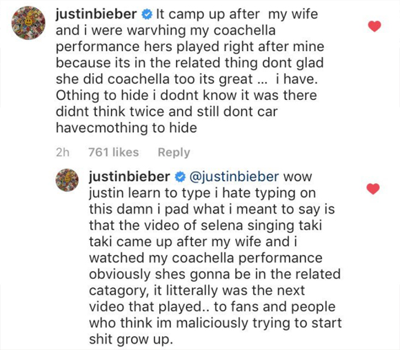 Justin Bieber hits back at fans