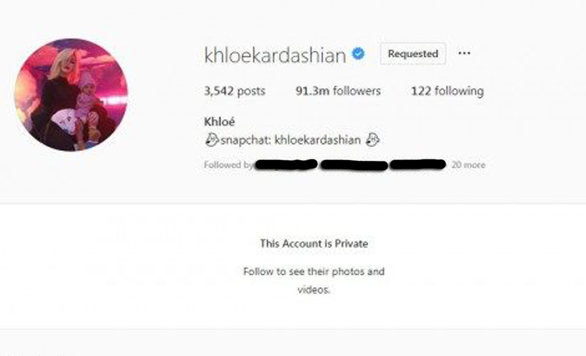 Khloe Kardashian's private Instagram page!