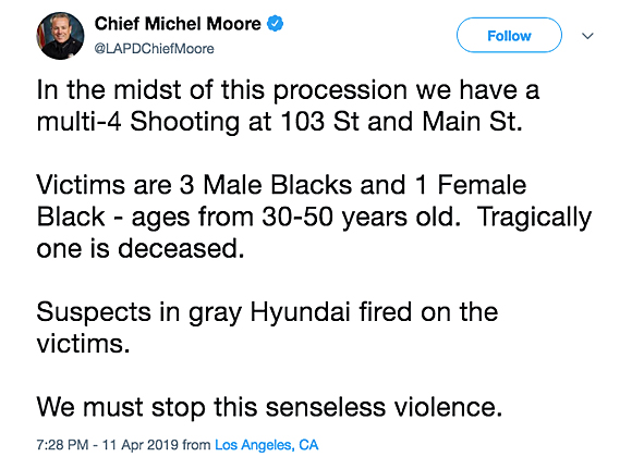 LAPD Chief Michel Moore tweets about shooting