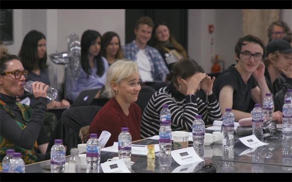 Emilia Clarke reacts to Kit Harington table read reaction