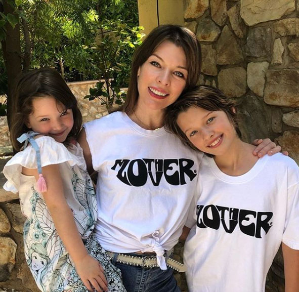 Mila Jovovich pictured with her two children