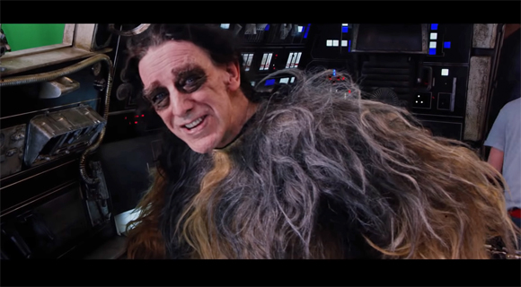 Peter Mayhew behind the scenes on the set of The Force Awakens