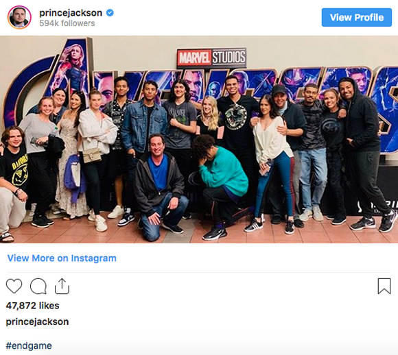 Prince Jackson Avengers Endgame theater