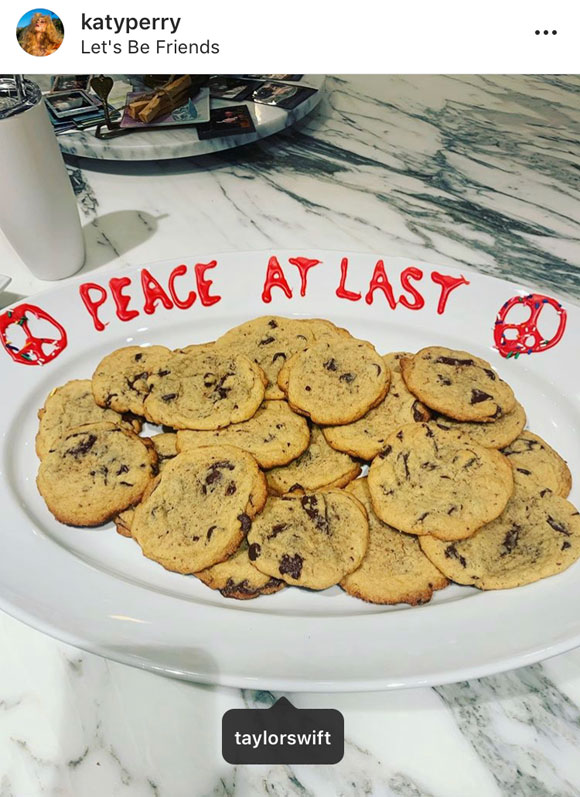 It appears Taylor Swift gave Katy Perry a plate of chocolate chip cookies!