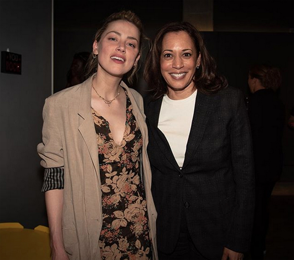 Amber Heard working with Kamala Harris