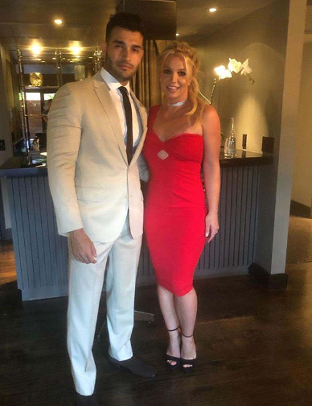 Britney Spears and Sam Asghari posing for Instagram