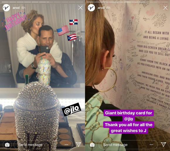 Alex Rodriguez Kisses Jennifer Lopez At Her 50th Birthday Party