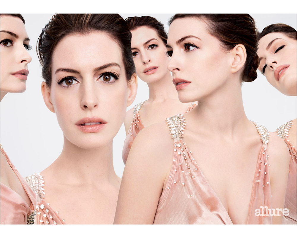 anne hathaway in pink for allure