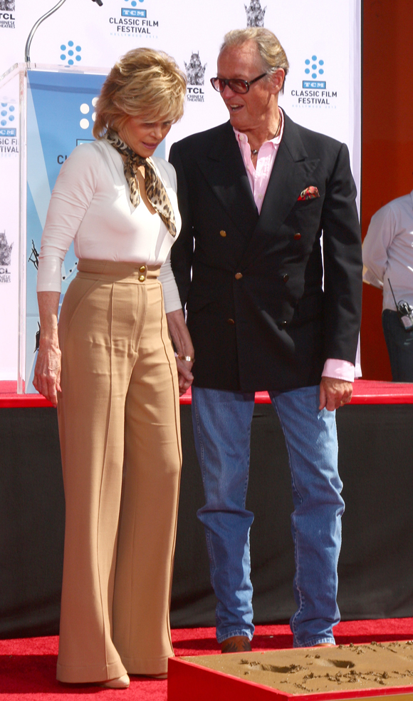 Peter supporting Jane at her Hollywood Walk of Fame hand and footprint ceremony