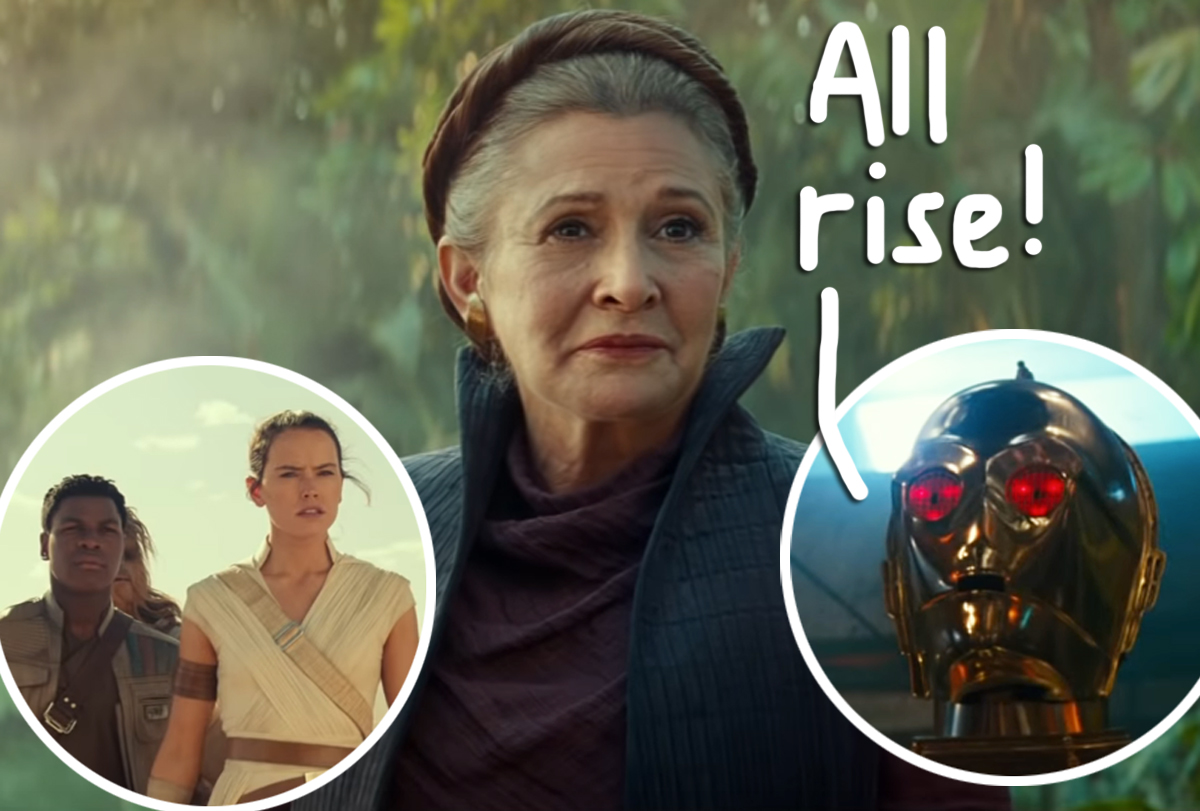 New Rise Of Skywalker Footage Teases Carrie Fisher Possessed Droids An Evil Rey Watch Perez Hilton