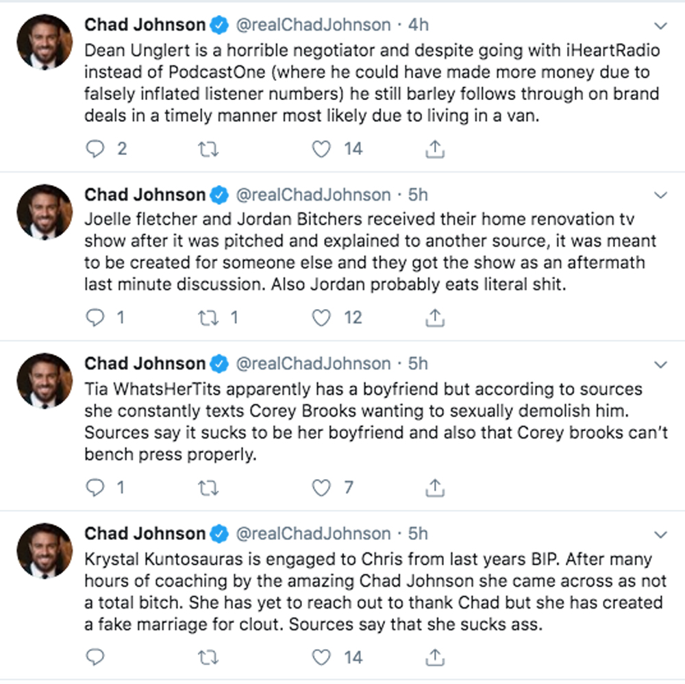Chad Johnson Bachelorette Twitter meltdown
