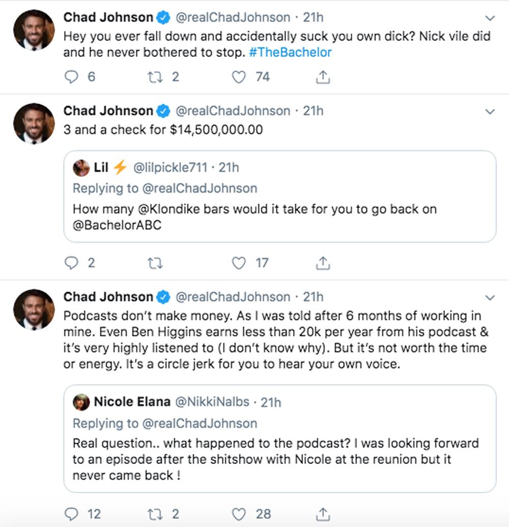 Chad Johnston Bachelorette Twitter meltdown