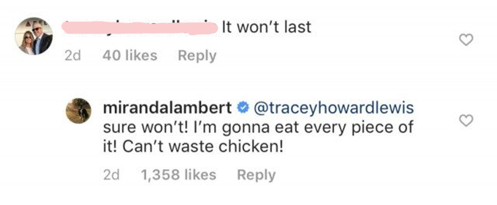 Miranda Lambert Playfully Trolls Instagram Commenter Who Says Her