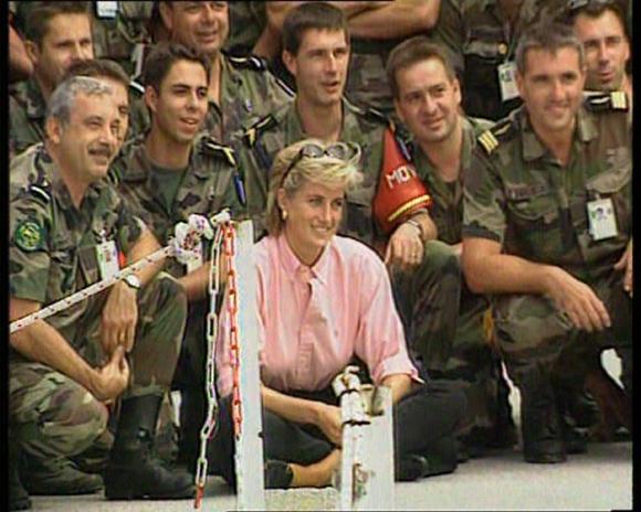 Princess Diana visits a landmine site in Bosnia