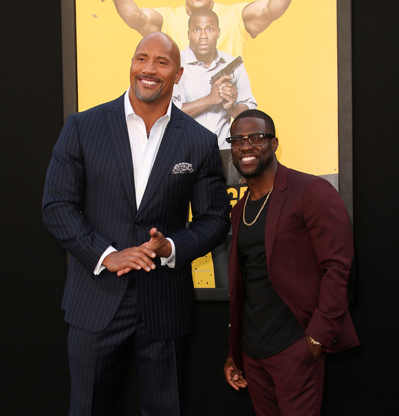 Dwayne Johnson and Kevin Hart at the 2016 premiere of Central Intelligence