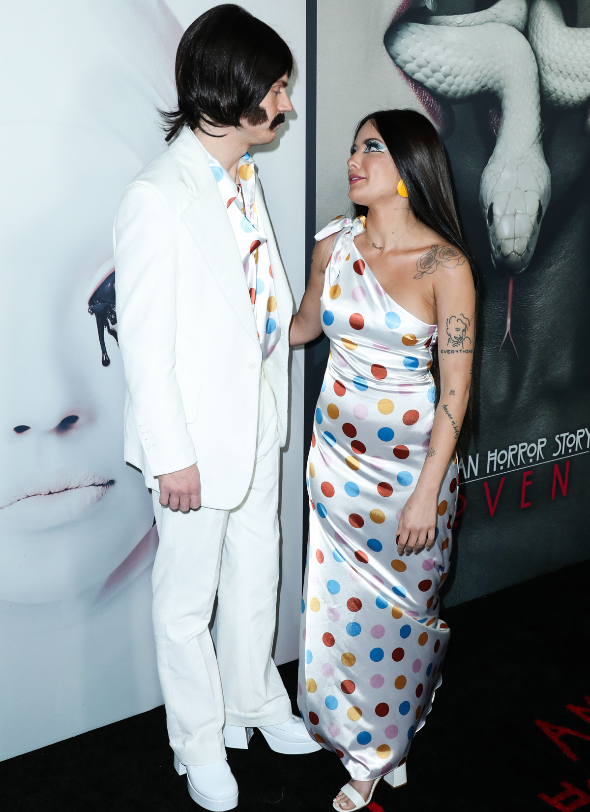Halsey Evan Peters red carpet Sonny and Cher costume