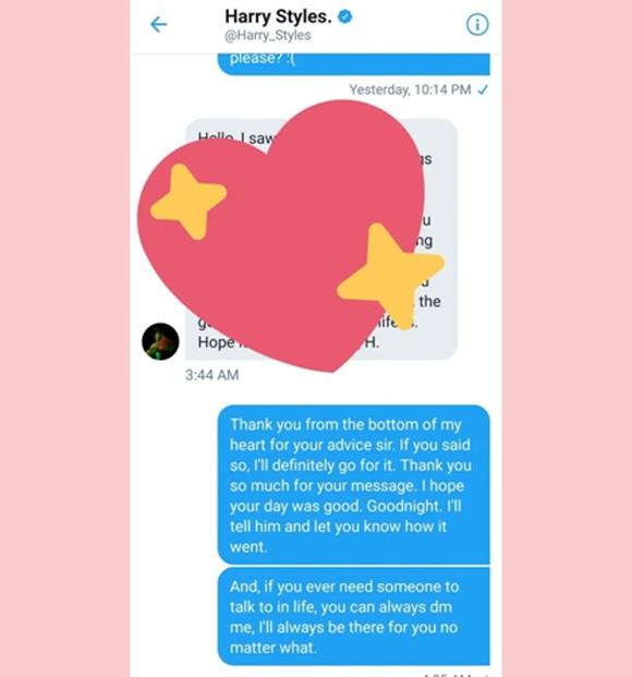 Harry Styles Gives Fan Love Advice Via Twitter DM — & She Then Shoots Her Shot!