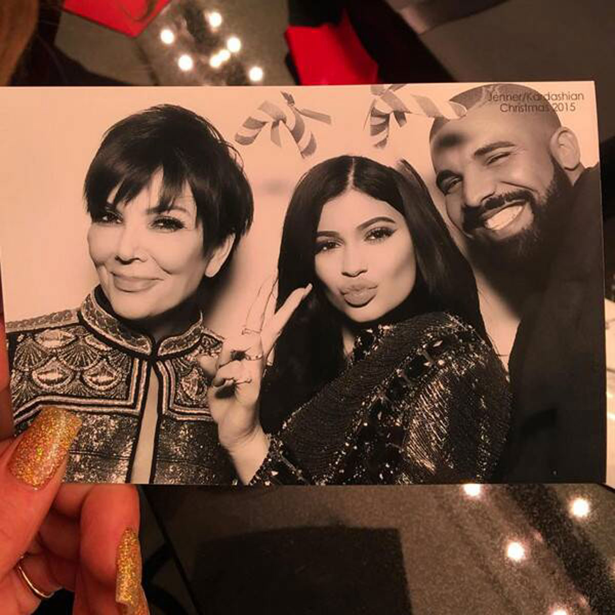 Drake and Kylie Jenner at the 2015 Christmas Eve party