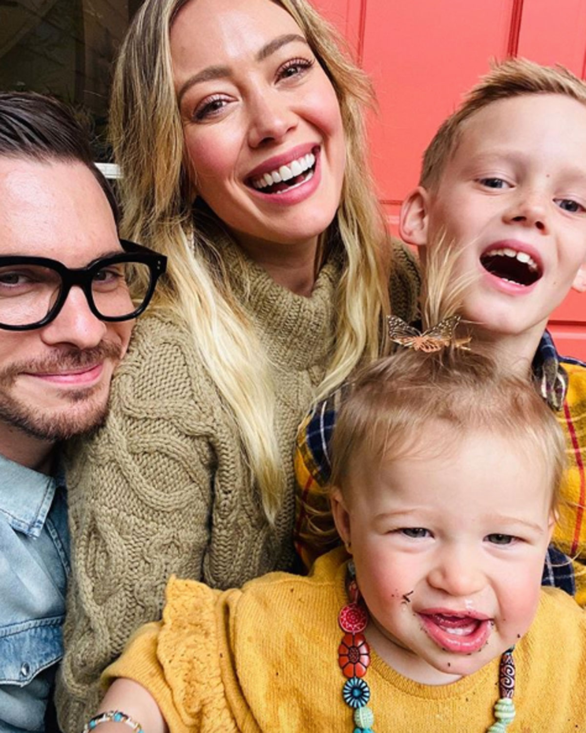 Hilary Duff and Matthew Koma pose with Banks and Luca