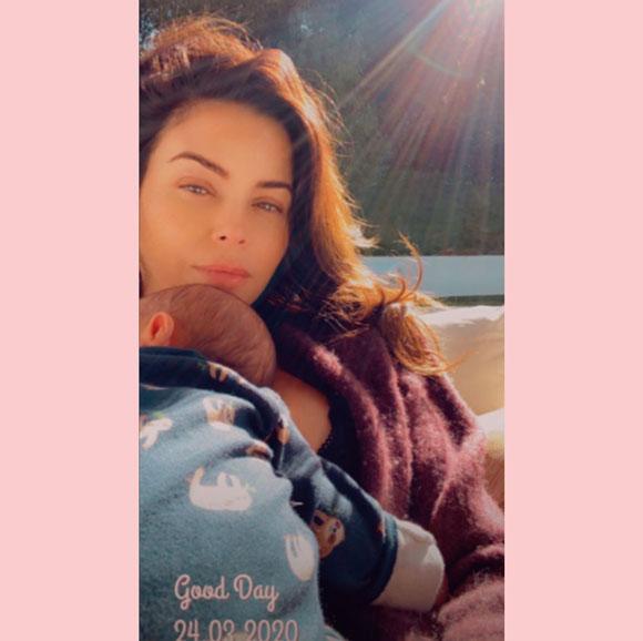 Jenna Dewan cuddles up to newborn son Callum Kazee.