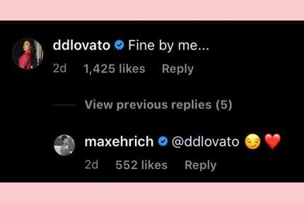 Demi Lovato max ehrich flirty instagram comment