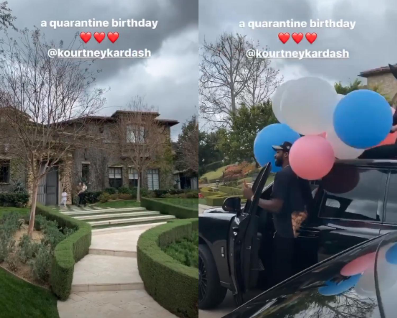kourtney kardashian's friends wish her happy birthday outside