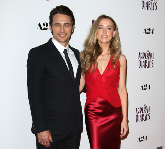 Amber Heard and James Franco at the premiere of The Adderall Diaries
